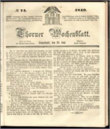 Thorner Wochenblatt 1849, No. 74 + Beilage