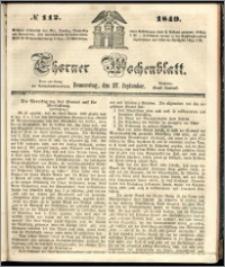 Thorner Wochenblatt 1849, No. 112 + Beilage