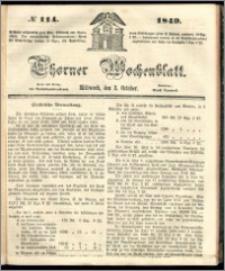 Thorner Wochenblatt 1849, No. 114 + Beilage