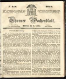 Thorner Wochenblatt 1849, No. 118 + Beilage