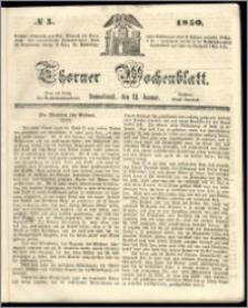 Thorner Wochenblatt 1850, No. 5 + Beilage
