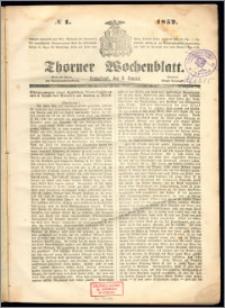 Thorner Wochenblatt 1852, No. 1 + Beilage
