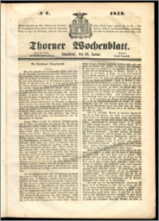 Thorner Wochenblatt 1852, No. 7