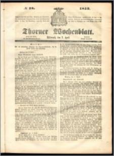 Thorner Wochenblatt 1852, No. 28 + Beilage