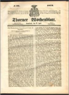 Thorner Wochenblatt 1852, No. 31 + Beilage