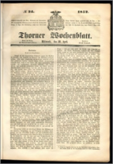 Thorner Wochenblatt 1852, No. 34 + Beilage