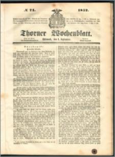 Thorner Wochenblatt 1852, No. 71