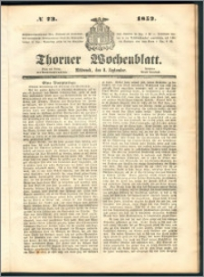 Thorner Wochenblatt 1852, No. 73