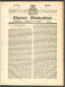 Thorner Wochenblatt 1852, No. 75