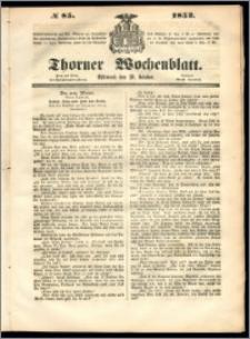 Thorner Wochenblatt 1852, No. 85 + Beilage