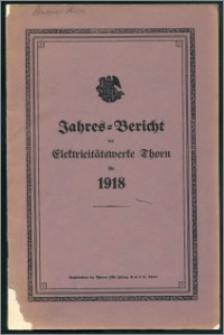 Jahres-Bericht der Elektricitätswerke Thorn für 1918
