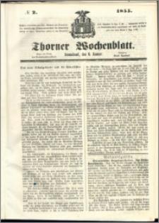 Thorner Wochenblatt 1855, No. 2 + Beilage