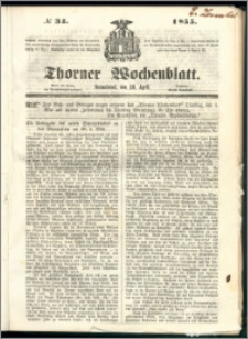 Thorner Wochenblatt 1855, No. 34