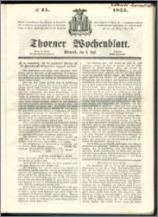 Thorner Wochenblatt 1855, No. 45 + Beilage