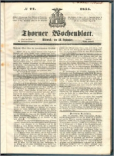 Thorner Wochenblatt 1855, No. 77 + Beilage