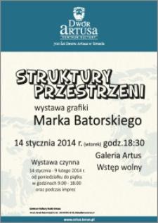 Struktury przestrzeni : wystawa grafiki Marka Batorskiego 14 stycznia 2014 r.