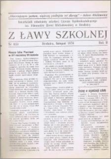 Z ławy szkolnej: Kwartalnik młodzieży szkolnej I Liceum Ogólnokształcącego im. Filomatów Ziemi Michałowskiej R. 1976, Nr. 4(5)