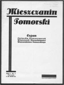 Mieszczanin Pomorski 1930, R. 1, nr 1