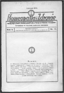 Homeopatja i Zdrowie 1932, R. 2, nr 11