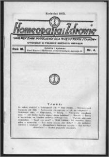 Homeopatja i Zdrowie 1933, R. 3, nr 4