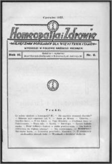 Homeopatja i Zdrowie 1933, R. 3, nr 6
