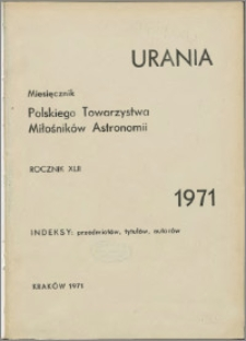 Urania 1971, R. 42 - indeksy