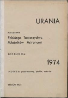 Urania 1974, R. 45 - indeksy