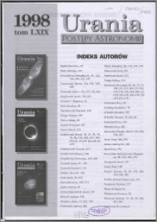 Urania - Postępy Astronomii 1998, T. 69 - indeksy