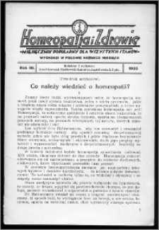 Homeopatja i Zdrowie 1933, R. 3, nr 11