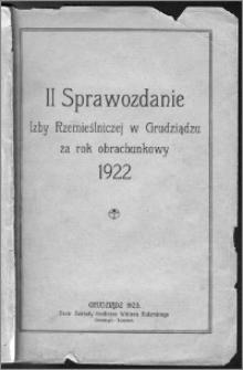 Sprawozdanie Izby Rzemieślniczej w Grudziądzu za Rok Obrachunkowy1922