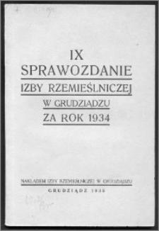 Sprawozdanie Izby Rzemieślniczej w Grudziądzu za Rok Obrachunkowy 1934