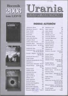 Urania - Postępy Astronomii 2006, T. 77 - indeksy