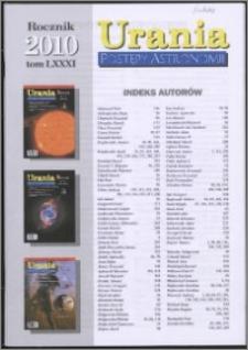 Urania - Postępy Astronomii 2010, T. 81 - indeksy
