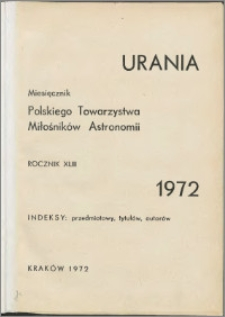 Urania 1972, R. 43 - indeksy