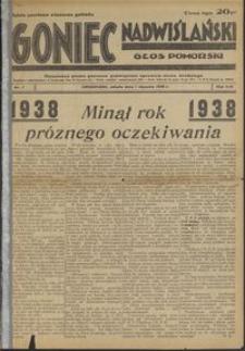 Goniec Nadwiślański : Głos Pomorski : niezależne pismo poranne poświęcone sprawom stanu średniego : 1938.01.01, R. 14 nr 1