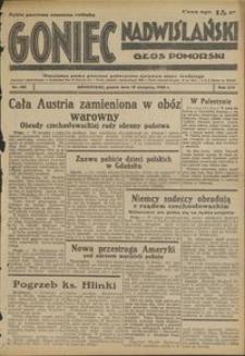 Goniec Nadwiślański : Głos Pomorski : niezależne pismo poranne poświęcone sprawom stanu średniego : 1938.08.19 R. 14 nr 189