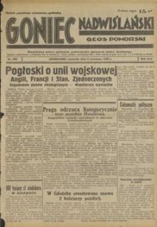Goniec Nadwiślański : Głos Pomorski : niezależne pismo poranne poświęcone sprawom stanu średniego : 1938.09.08, R. 14 nr 206