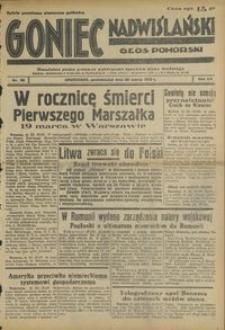 Goniec Nadwiślański : Głos Pomorski : niezależne pismo poranne poświęcone sprawom stanu średniego : 1939.03.20, R. 15 nr 66