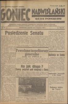 Goniec Nadwiślański : Głos Pomorski : niezależne pismo poranne poświęcone sprawom stanu średniego : 1939.06.01, R. 15 nr 125