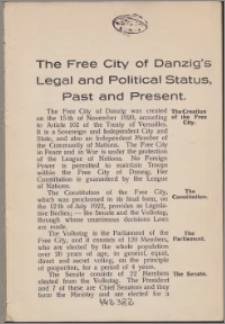 The free city of Danzig's legal and politica status, past and present
