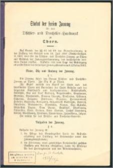 Statut der freien Innung für das Tischler- und Drechsler-Handwerk zu Thorn