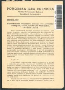Najważniejsze wskazówki rolnicze dla powiatów Starogard, Tczew, Grudziądz, Wąbrzeźno, Chełmno i Toruń : wiosna 1939 r.