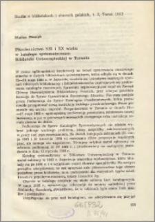 Piśmiennictwo XIX i XX wieku w katalogu systematycznym Biblioteki Uniwersyteckiej w Toruniu