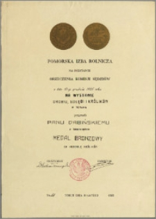 Dabiński z Grudziądza Medal Bronzowy za hodowlę królików