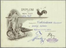 Dabiński Florentyn - Dyplom i Medal Złoty za hodowlę królików