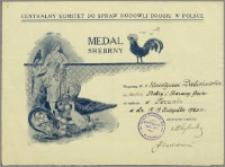 Dabiński Florentyn z Grudziądza Medal Srebrny za króliki...
