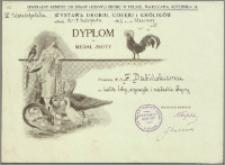 Dabiński F. Dyplom na Medal Złoty przyznany za króliki bobry, szynszyle i niebieskie olbrzymy