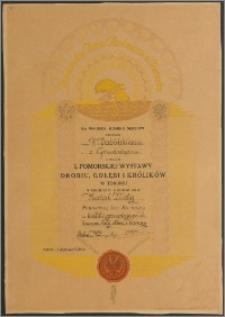 Dabiński F. z Grudziądza Medal Złoty za króliki gronostaje polsk hawana, belg. olbrz, i barany - Dabiński z Grudziądza