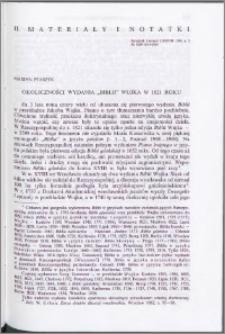 """Okoliczności wydania """"Biblii"""" Wujka w 1821 roku"""