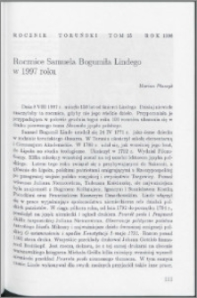 Rocznice Samuela Bogumiła Lindego w 1997 roku